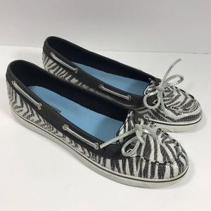 Sperry Top Sider zebra animal print boat shoes 9.5